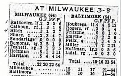 Milwaukee Hawks vs Baltimore Bullets 1